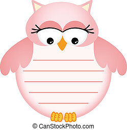 Pink Baby Owl with Label - Scalable vectorial image...