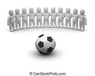 Football team and ball. 3d rendered illustration.