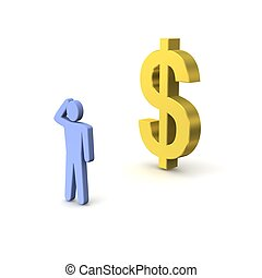 Dollar - Golden dollar and thinking person. 3d rendered...
