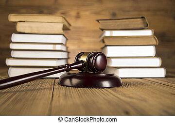 de madera, martillo, ley, Libros, oro, escala