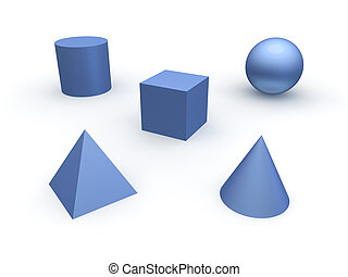 3d basic objects Sphere, cube, cone, cylinder and pyramid