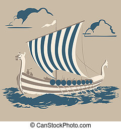 Viking ship - Norman ship crossing the sea to conquer new...