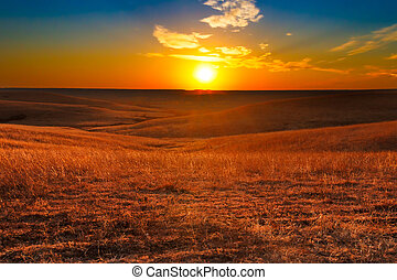 Flint Hills of Kansas Sunset - Sunset overlooking the Flint...