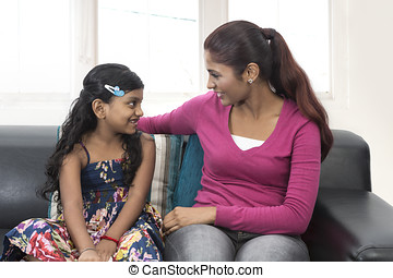 Young Indian mum and daughter at home - Young Indian mum and...