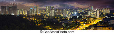 Singapore Housing Estate with Stormy Sky at Evening Time...