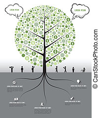 Tree and root with icons