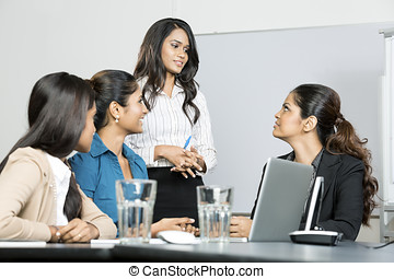 Indian business women in a meeting - Group of happy Indian...