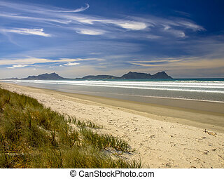 White Sand Beach With Blue Sky in New Zealand - Secluded...