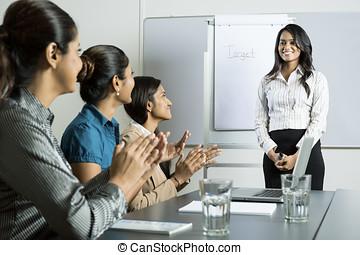 indio, mujer, presentación, empresa / negocio