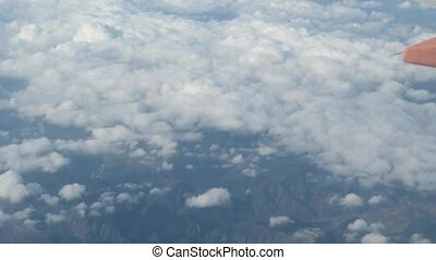 Liguria aerial view - airplane windshield view of Liguria,...