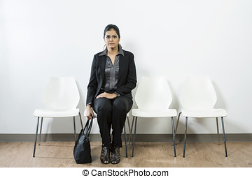 Indian woman waiting for interview - Anxious Indian woman...