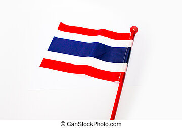 thailand national flag made from plastic isolated white...