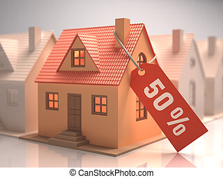 House Liquidation - Small house with red label written 50