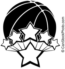 All-star Basketball - Black and white vector of a basketball...