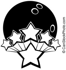 All-star Bowling - Black and white vector of a bowling ball...