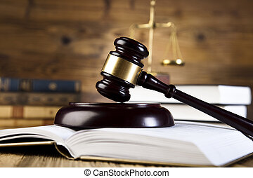 Wooden gavel and law books - Law and justice concept, legal...