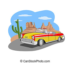 Classic car - An illustration of classic car in the desert