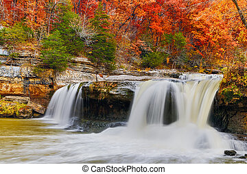 Colorful Cataract Falls - Indianas Upper Cataract Falls is...