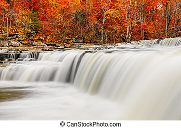 Flowing Water and Fall Leaves - Brilliant autumn foliage...