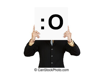Businessman hold board with gasp face emoticon isolated on...