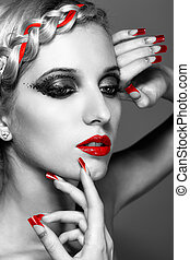 Young woman with red nails - Young blonde woman with braid...