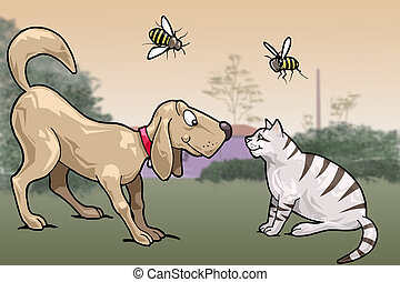 Smiling cat and dog - Face to face