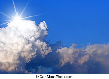 Cloudscape with Sun Burst and Copy Space - Clouds and blue...