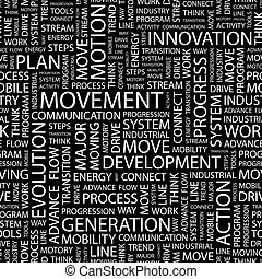 MOVEMENT Seamless pattern Word cloud illustration