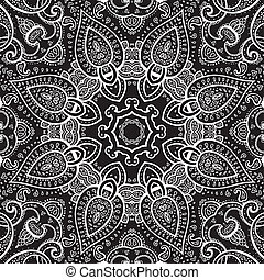 Lace background. White on black. Mandala. Vector ethnic...