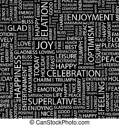 JOY. Seamless pattern. Word cloud illustration.