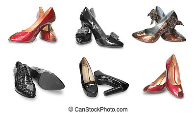collection of females shoes isolated on white