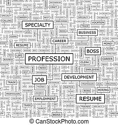 PROFESSION Seamless pattern Word cloud illustration