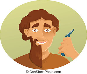 A Shaver and the beard - Vector image of a Shaver and the...
