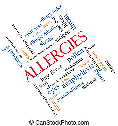 Allergies Word Cloud Concept Angled - Allergies Word Cloud...