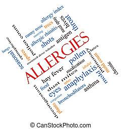 alergias, palabra, nube, concepto, angular