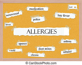 Allergies Corkboard Word Concept with great terms such as...