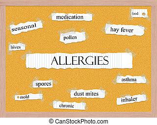 alergias, Corkboard, palabra, concepto