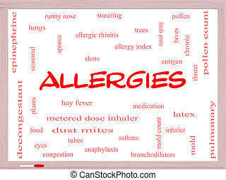 Allergies Word Cloud Concept on a Whiteboard with great...