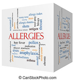 Allergies 3D cube Word Cloud Concept with great terms such...