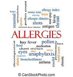 Allergies Word Cloud Concept with great terms such as food,...
