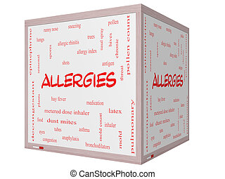 Allergies Word Cloud Concept on a 3D cube Whiteboard with...