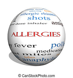 Allergies 3D sphere Word Cloud Concept with great terms such...