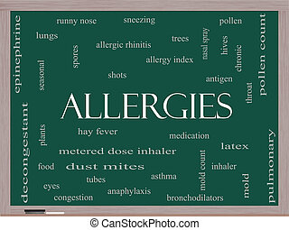 Allergies Word Cloud Concept on a Blackboard with great...