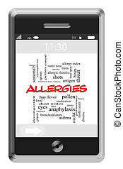 Allergies Word Cloud Concept on Touchscreen Phone -...
