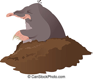 Vector image of smiling cartoon grey mole