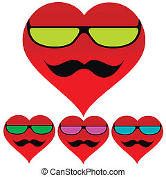 Background heart glasses mustache