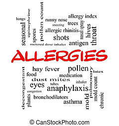 Allergies Word Cloud Concept in red caps with great terms...