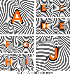 Design alphabet letters from A to J. Striped waving line textured font. Vector-art illustration