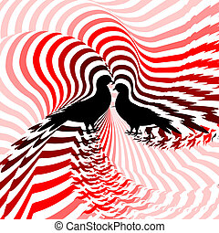 Silhouette of two doves. Design colorful striped twisting lines textured background. Vector-art illustration. No gradient
