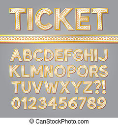 Golden Bright Broadway Alphabet and Numbers, Eps 10 Vector...